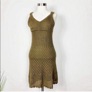 Athleta Crochet Mini Dress Green Beach S